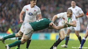 Jamie Heaslip tackles Mike Brown at Twickenham last Saturday.