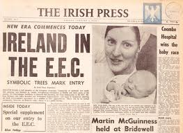The front page of the Irish Press from 1973