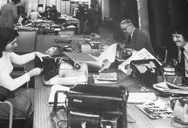 Reporters at work in the Irish Press newsroom, circa 1960