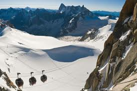 Taking the lift to the piste in Courmayeur.