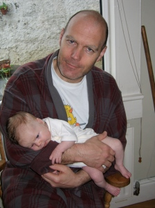 Dad and daughter in the early days. Sleep deprivation was normal back then.