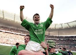 Brian O'Driscoll celebrates after scoring his hat-trick in Paris in 2000.