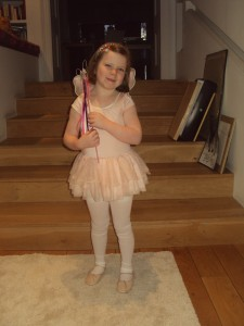 My daughter Grace in her ballet tut (and fairy wand)