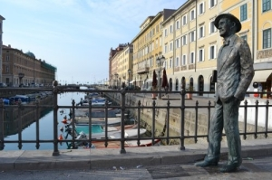 The statue of Joyce erected in Trieste in 2004 to mark the centenary of Joyce's arrival in the city.