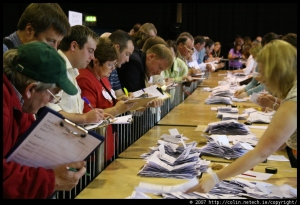 Tallymen and women count the votes at the RDS.