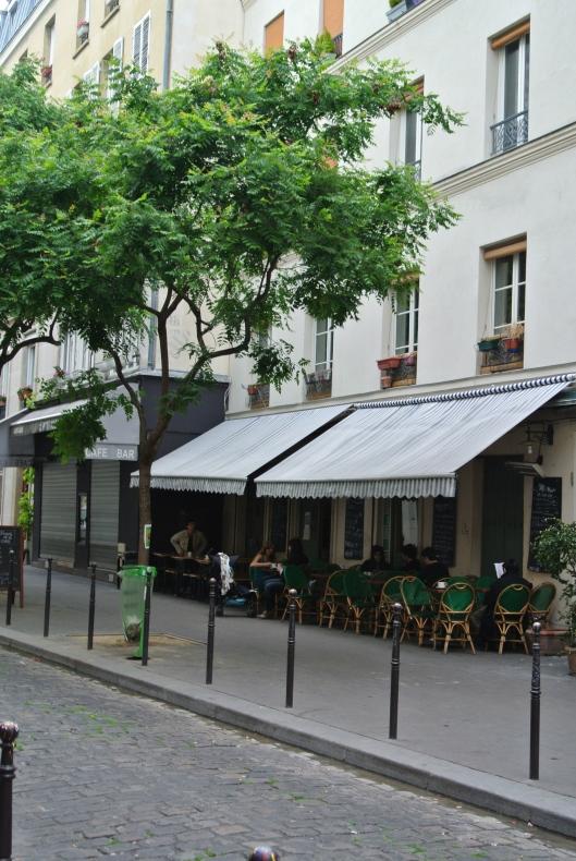 A sidewalk café in the Passage des Petites Ecuries in the 10th Arrondisement.