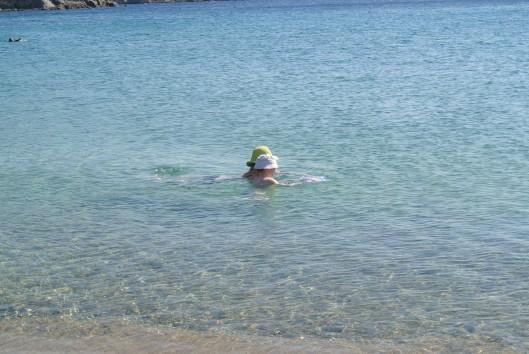 Grace and her Mom swim in Ganema beach on Serifos.