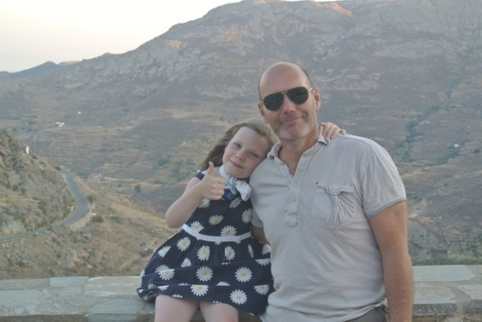 My daughter Grace and me on our holiday to Greece last year. She waited until the last day before swimming.