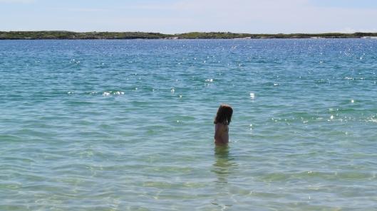 Grace goes for a swim on Gurteen Beach near Roundstone in Connemara.