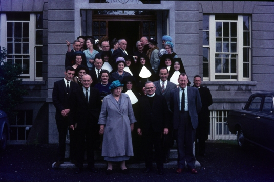 The O'Hare family, with Sister Brigid in her white habit at the front.